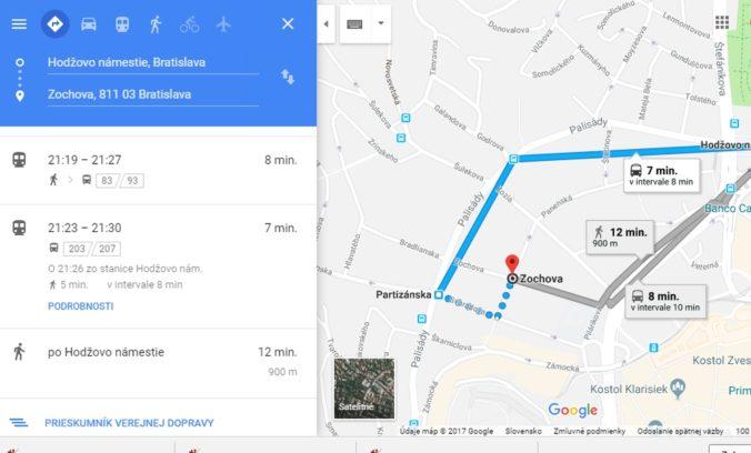 Spoje MHD v Bratislave sa dajú vyhľadať cez Google mapy, poskytnú aj najlepší spôsob prepravy